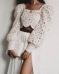 ivrose / Square Neck Lantern Sleeve Hollow Out Crop Blouse Crochet Blouse, Crochet Lace, Fashion Mode, Fashion Outfits, Textiles Y Moda, Mode Crochet, Crop Blouse, Diy Blouse, Crochet Fashion