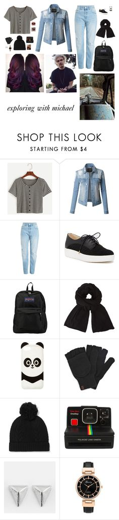 """exploring with michael"" by fivesos-prefs ❤ liked on Polyvore featuring LE3NO, Dr. Scholl's, JanSport, John Lewis, Charlotte Russe, Keds, N.Peal, Polaroid and Cornelia Webb"