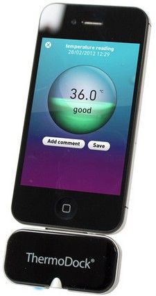 Medisana Thermodock turns your smartphone into the world's most expensive thermometer. It may seem ridiculous and clunky to hold an iPhone up to your forehead to take your temperature if you're feeling poorly, but think about the potential for processing the data once it's captured. The gadget and software already allows for archiving of temperatures over time.