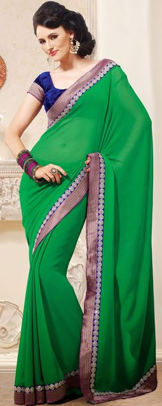 Dazzling Diva Green Chiffon Embroidered Saree - IG6096 USD $ 66.15