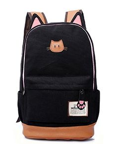 Moolecole Leather & Canvas Backpack School Bag Laptop Backpack with Cat's Ears Design (Black) Moolecole http://www.amazon.com/dp/B00NWA5EHO/ref=cm_sw_r_pi_dp_ytXUvb0C0MTX2