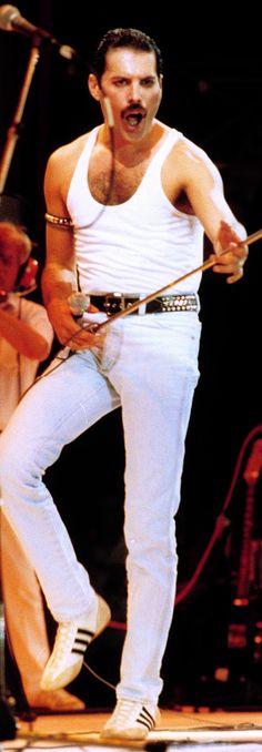 Freddie Mercury on stage for Live Aid, 1985.