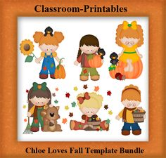 Clipart Templates for Scrapbooking.    Chloe Loves Fall Clipart Template Bundle. For Digital Scrapbooking, Clipart, Creating Cards & Printables.    Comes PSD Format  For Use in Photoshop and Graphics Programs