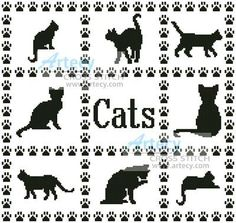free easy cross sticth patterns cats | Cat Sampler Cross Stitch Pattern cats