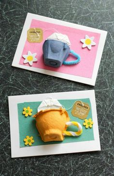 would be so cute for Mother's Day Tea Invitations!Egg box tea cup card, with a real tea bag. Great for mothers day cards, thank you cards, or just to make someone smile Kids Crafts, Easy Mother's Day Crafts, Yarn Crafts, Clever Kids, Egg Carton Crafts, Egg Carton Art, Fathers Day Crafts, Mom Day, Mothers Day Cards