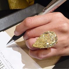 A 50 carat yellow pear from @christiesjewels , reposted from @davidwarrenchristies , that I know would look good on my finger! #christiesjewels #diamond #rock #instasize #wantit #investment #finejewelry