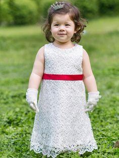 Little Girls White Performance Dress Wedding Flower Princess Dress