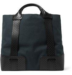 Bottega VenetaCanvas and Intrecciato Leather Tote Bag