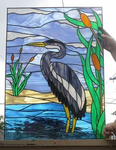 Stained glass Window Blue Heron W-57 by TerrazaStainedGlass