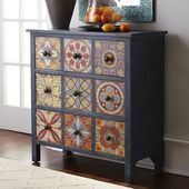 Granada Chest Inspired by the bright patterned tilework of the Mediterranean, the mixed-wood chest displays a distressed blue frame and. Decoupage Furniture, Recycled Furniture, Paint Furniture, Shabby Chic Furniture, Furniture Makeover, Cheap Furniture, Luxury Furniture, Wood Chest, Mediterranean Decor