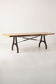 """Lever & Lumber table: reclaimed elm & iron base.  Robert Ogden for Anthropologie.  Way too big & way too expensive, but I love the design.  28.5""""H, 92""""W, 32""""D.  $3498"""