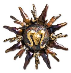 Sun - Ram's Head (Aries) Metal Wall Art 20 X 20 Inches By Ricardo Breceda