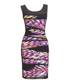 Take a look at the Nina Austin Fuchsia Sheer Mesh-Panel Silk-Blend Sheath Dress on #zulily today!