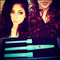 Hair: huge big curls made with @Leyla Milani Khoshbin 3-1 triple threat curling wand from #Milanihair got it from #planetbeauty in Irvine, Ca Love this wand. Has 3 different sizes so you can make different curls & comes in a cute color.