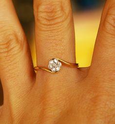 Antique diamond flower, wedding ring <3