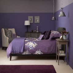 Dusky plum bedroom with floral bed linen