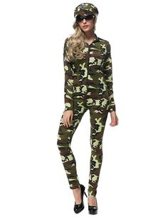 Army Girl Camo Jumpsuit With Hat Womens Halloween Costume