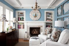 blue + white sitting room, Heather Scott Home