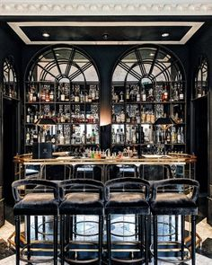 Glamorous and exciting bar decor needs matching furniture. Discover our collecti. Glamorous and ex Restaurant Design, Restaurant Bar, Modern Restaurant, Luxury Bar, Bar Interior Design, Luxury Interior, Home Bar Decor, Home Bar Designs, Café Bar