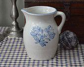 Yorktowne Water Pitcher Yorktown Blue White Glaze Beverage Ceramic Country Cottage Farmhouse Kitchen Pfaltzgraff I Ship Internationally