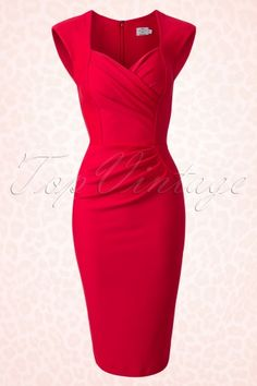 Diva Catwalk 50s Red Pin up Pencil Dress 100 20 14861 20150213 0005W