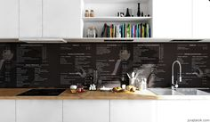 Scandinavian-Apartment-monochrome-printed-splashback-and-cookbook-nieches