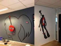 'Creative wall painting using fire extinguisher'. What a perfect, creative idea. This would make fire extinguishers less missable and more noticeable, but in a good way. Creative Wall Painting, Creative Walls, Creative Design, Smart Design, Creative Office Space, Cool Office, Small Office, Office Ideas, Blue Office