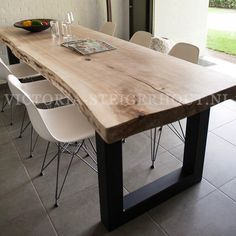 What about a live edge table with modern seating? If you are having one built this could be a possibility. Dinning Room Tables, Dining Area, Kitchen Dining, Kitchen Decor, Live Edge Table, Wood Table, Home And Living, Home Kitchens, Sweet Home
