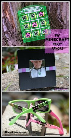DIY Minecraft Party Favors, include 6 DIY Minecraft party gift ideas, sunglasses, picture frame, Minecraft paper bead necklace, Tic Tac Toe games for kids and pencil toppers.