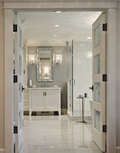 Walker Zanger Siberian White Marble on bathroom floor designed by Enviable Designs Inc.