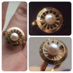 Love the setting of this and Pretty Rings, Pearl Ring, Vintage Love, Glamour, French, Pearls, Gold, Jewelry, Jewlery