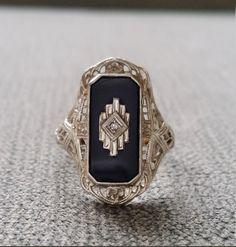 Antique Black Onyx Diamond Ring Filigree Art Deco by PenelliBelle