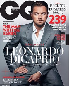 Leading man: Leonardo Di Caprio appears on the cover of the latest issue of GQ Australia in a sharp grey suit and white shirt