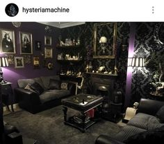 Grey damask and purple goth living room