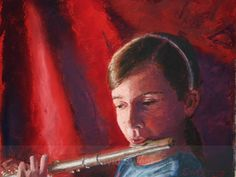 Girl on a flute - Children's Portraits Musical Instruments, Flute, Mona Lisa, Portraits, Paintings, Artwork, Music Instruments, Work Of Art, Paint