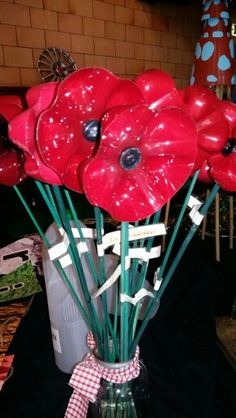 Poppy made from the end of a plastic bottle