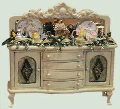 hand-painted miniature furniture - buffet