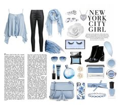 """sky blue"" by valxntinavilla on Polyvore featuring Sans Souci, Veronica Beard, KC Jagger, Yves Saint Laurent, Miadora, Deborah Lippmann, Huda Beauty, MAC Cosmetics, Clinique and NYX"