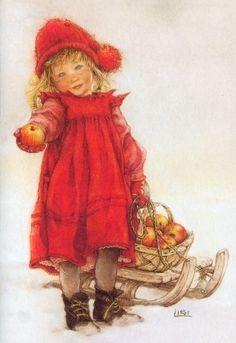 Idun - Illustration de Lisi Martin - Idun était la Gardienne du Verger des Pommes de Jouvence pour les Ases, ces Pommes leur redonnaient Vigueur et Force. Idun est toujours représentée dans les Personnages des Noels Suédois par une Petite Fille.