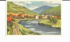 A Vintage Edition Stahli Watercolor Postcard of Unknown Landscape by COLLECTORSCENTER on Etsy