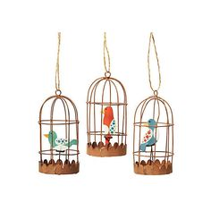 Asst. of 3 Birdcage Ornaments Ornaments (11 AUD) ❤ liked on Polyvore featuring home, home decor, holiday decorations, blue ornaments, red home decor, blue home decor, bird cage home decor and xmas tree ornaments