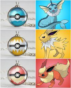 Pokemon Eeveelution starter pokeballs, Vaporeon ball, Jolteon ball and Flareon ball #kanto #Eevee #treatsforgeeks