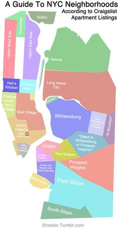 """streeter says: Anyone who has ever found themselves looking at an apartment on Roosevelt Island when the listing said """"Midtown East"""" will probably relate to this map I made."""
