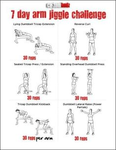 7 day arm jiggle challenge... Just a week? We shall see...  of course, I pin these things, but do I ever actually do the exercises?  Obviously not! by adrian