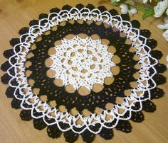 crocheted doily black white gothic  halloween crochet thread home decor unique gift#Repin By:Pinterest++ for iPad#