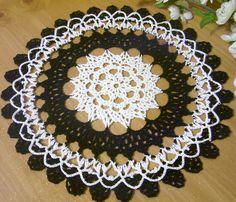 crocheted doily black white gothic  halloween crochet thread home decor unique gift