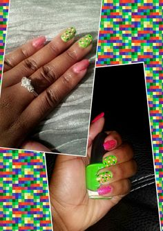 Pink And White Glitter Fadding With Black Zebra Leopard Nail Design