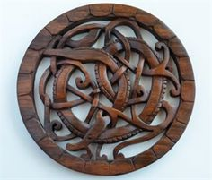 Midgard Serpent Wood Carving: Viking Shield - Replicas And Gifts