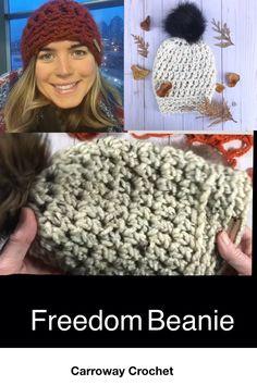 Freedom Beanie, a handmade crochet chunky beanie Crochet Hat With Brim, Chunky Crochet, Crochet Beanie, Crochet Braids, Knitted Hats, Crochet Hats, Slouchy Beanie, Beanie Hats, Crochet Designs