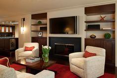 Sophisticated living room with contemporary fireplace design.